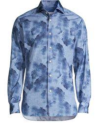 Kiton Watercolor Sport Shirt - Blue