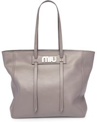Miu Miu - Vitello Daino Leather Tote Bag - Lyst