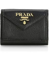 Prada Mini Daino Color Leather Wallet - Black