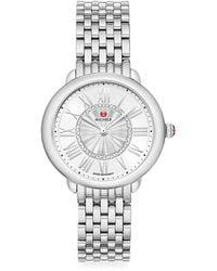 Michele Serin Mid Stainless Steel Diamond Bracelet Watch - Metallic