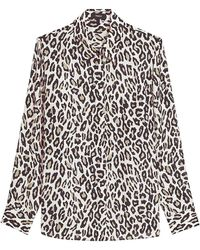 Theory Leopard Print Silk Button-up Shirt - Multicolor