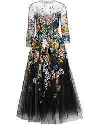 Oscar de la Renta Floral-painted Tulle Cocktail Dress - Black