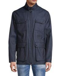 Isaia Denim Utility Jacket - Blue