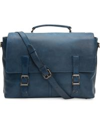 Frye Logan Leather Flap Briefcase - Blue