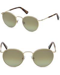 Web - 51mm Gold & Green Round Sunglasses - Lyst