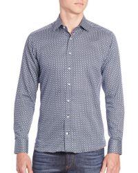 Etro - Geo-print Cotton Sportshirt - Lyst