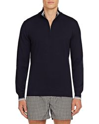 Orlebar Brown Lennard Tipping Quarter-zip Pullover - Blue