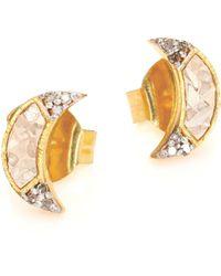 Shana Gulati - Banjara Champagne Diamond Noorpur Crescent Studs - Lyst