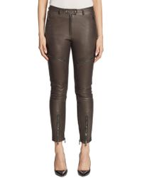 Moschino Leather Cargo Pants - Gray