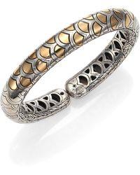 John Hardy - Naga 18k Yellow Gold & Sterling Silver Slim Flex Cuff Bracelet - Lyst
