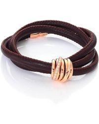 De Grisogono - Allegra Diamond, 18k Rose Gold & Leather Wrap Bracelet/tobacco - Lyst