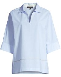 Lafayette 148 New York Nicole Square-sleeve Blouse - Blue