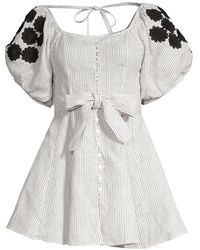 Innika Choo Madonna Pinstriped Puff Sleeve Mini Dress - Multicolor