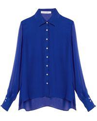Carolina Herrera Sheer-sleeve Silk Button Down Shirt - Blue