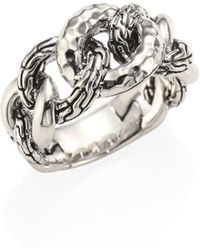 John Hardy - Classic Chain Small Hammered Sterling Silver Link Ring - Lyst