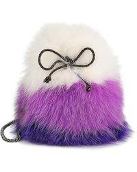 Saks Fifth Avenue Fox Fur & Rabbit Fur Drawstring Bucket Bag - Purple