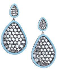Etho Maria Amoeba Blue Topaz 18k White Gold Drop Earrings - Multicolor