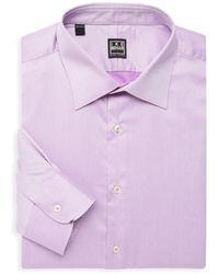 Ike Behar William Cotton Dress Shirt - Purple