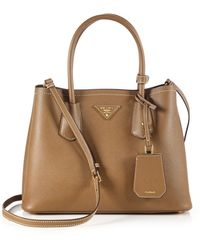 Prada - All Designer Products - Saffiano Cuir Small Double Bag - Lyst