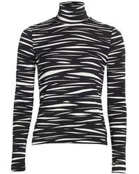 Stine Goya Anne Zebra Stripe Turtleneck - Black