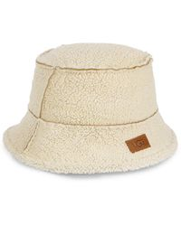 UGG Exposed Shearling Bucket Hat - Brown