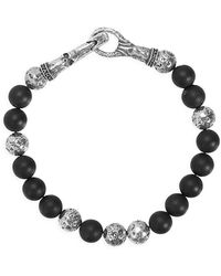 John Varvatos Mercer Sterling Silver & Onyx Bead Bracelet - Metallic