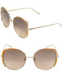 f28f2e3fa3e Lyst - Gucci Horsebit 56mm Square Sunglasses in Brown