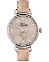 Shinola - Runwell Pink Alligator Strap Watch - Lyst