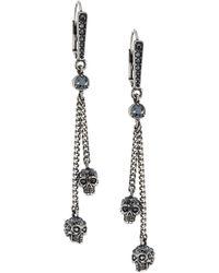 Alexander McQueen - Swarovski Crystal Silvertone Skull Chain Earrings - Lyst