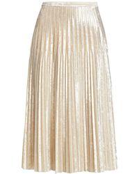 Halston Sloan Velvet Pleated Midi Skirt - Natural