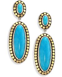 John Hardy - Dot Turquoise & 18k Yellow Gold Oval Drop Earrings - Lyst
