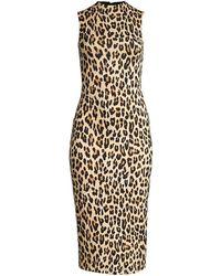 Alice + Olivia Delora Sleeveless Fitted Leopard Mock-neck Dress - Multicolor