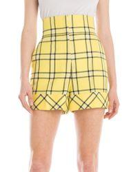 Sara Battaglia - High-waist Check Shorts - Lyst