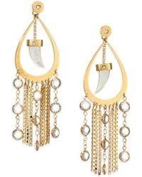 House of Lavande - Nihiwatu Mother-of-pearl & Crystal Double-sided Fringe Teardrop Earrings - Lyst