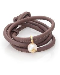 Mizuki Diamond, 12mm White Oval Pearl, 14k Yellow Gold & Leather Wrap Bracelet - Brown