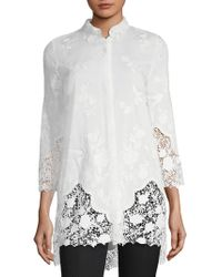 Elie Tahari - Clark Embroidered Blouse - Lyst