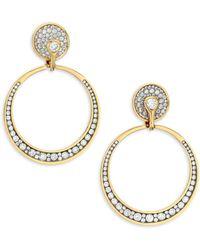 Plevé - 18k White Yellow Gold & White Diamond Drop Earrings - Lyst