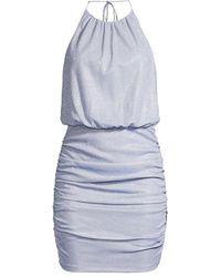 Aidan By Aidan Mattox Blouson Halter Knit Mini Dress - Blue
