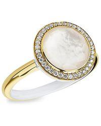 Ippolita Lollipop Carnevale 18k Yellow , Mother-of-pearl Doublet & Diamond Ring - Metallic