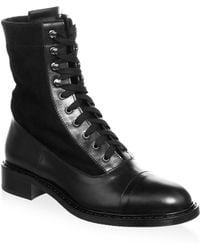 Aquatalia - Brigitta Suede And Leather Lace-up Boots - Lyst