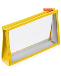 Stow See-view Leather-trim Clear Pouch - Yellow