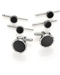 David Donahue Onyx & Sterling Silver Stud Set - Metallic