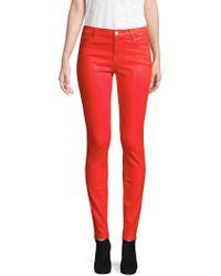 J Brand   Mid-rise Super Skinny Coated Pants   Lyst