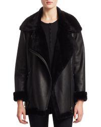 Saks Fifth Avenue - Shearling Lamb & Nappa Leather Moto Jacket - Lyst