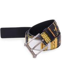 Versace - Men's Classic Saffiano Leather Belt - Black White - Size 115 (46) - Lyst