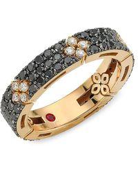 Roberto Coin Love In Verona 18k , Black & White Diamond Ring - Metallic