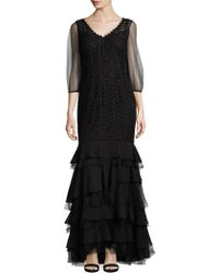 Kay Unger - Tiered Mermaid Gown - Lyst