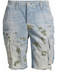 Hudson Jeans Camo Print Denim Cut-off Shorts - Blue