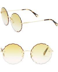 Gold Scalloped Edge Rimless Sunglasses Chloé YjxEGx
