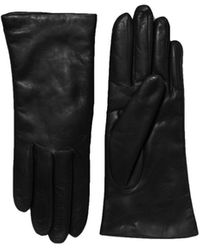 Saks Fifth Avenue Cashmere-lined Leather Gloves - Black